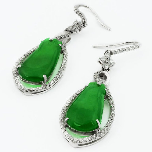 Certified Jadeite Jade Natural Untreated, Pear Shape & Diamond Drop Earrings