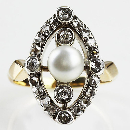 Victorian Natural Pearl & Old European Cut Diamonds Ring in Silver & 18ct Gold
