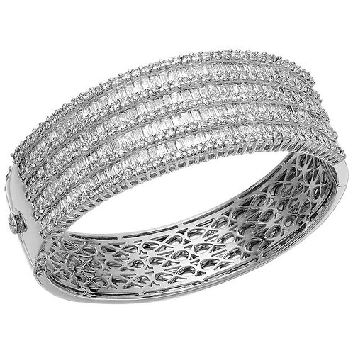 Wide Band, Cuff, Round Brilliant & Baguette Diamond Bangle, 18 ct White Gold