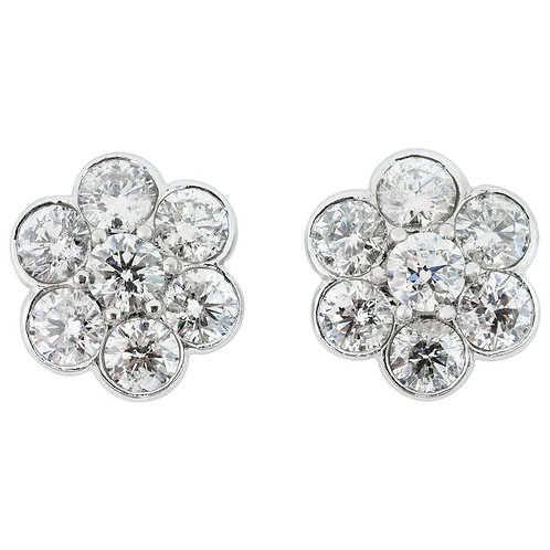 Round Brilliant Cut Diamonds Classic Cluster Stud Earrings