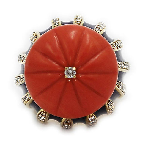 Natural Carved Coral, Diamond and Enamel Ring Made in Italy 18 Carat Yellow Gold