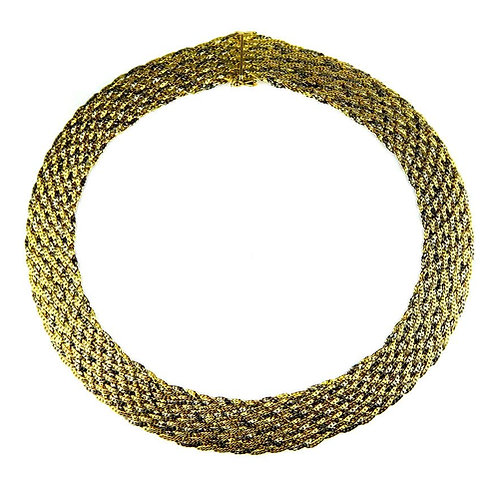 Wide weave necklace composed of fine strands of yellow, white, rose gold in 18K