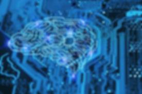 Artificial intelligence brain on blue in