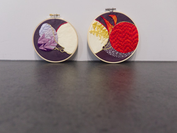 Where once were threads there now are wounds, there now are wounds (2020) embroidery thread and paint on bleached calico in circular embroidery hoops