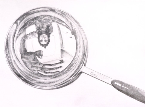 self portrait in solitary T spoon  (2020) graphite on paper