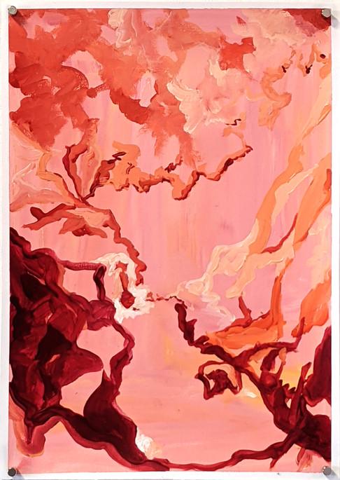 Ouzoud invitation (2020) acrylic on canvas sheet