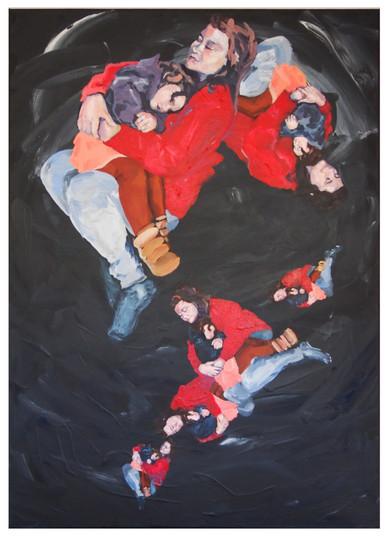 Miss Palmer escaped uninjured (2020) Acrylic on canvas, 70cm x 50cm