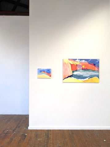(T)here and T(here) (2020) acrylic on canvas. Installation view, VCA Grad Show