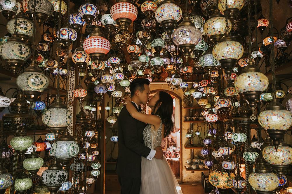 cappadocia pre wedding photographer lantern shop
