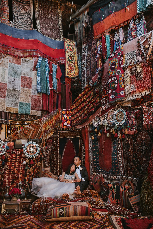cappadocia pre wedding photos carpet shop