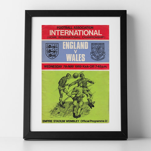 England v Wales programme poster, May 1969