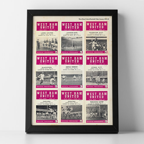 West Ham United Football Club, 1965-66 Programme Compilation Poster