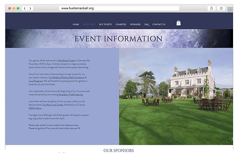 Huntsman website design event information page