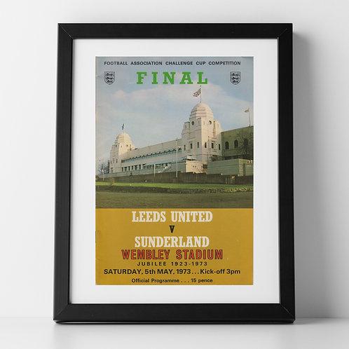 Leeds v Sunderland FA Cup Final programme poster, May 1973