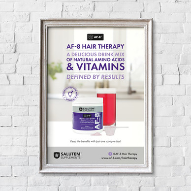 Salutem Supplements Hair Therapy Poster designed by Jellicoe Creative www.jellicoecreative.co.uk