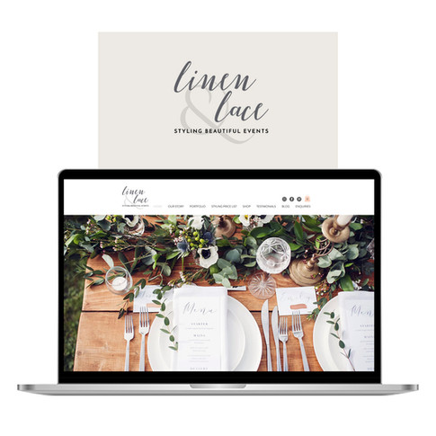 Linen Lace Wedding Hire Website on laptop designed by Jellicoe Creative www.jellicoecreative.co.uk