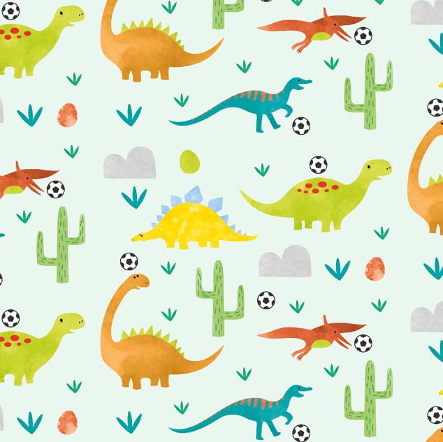 Dinosaurs playing footie - green