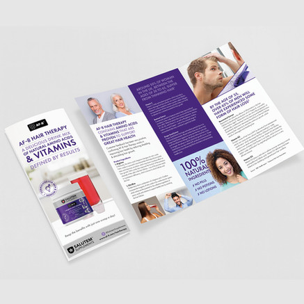 Salutem Supplements Hair Therapy DL leaflet designed by Jellicoe Creative www.jellicoecreative.co.uk