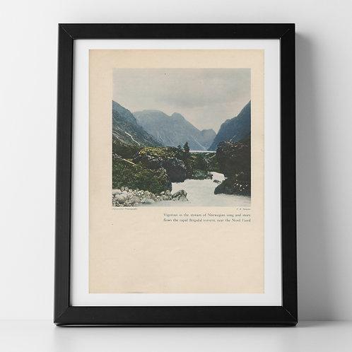 Norwegian Landscape print of Brigsdal Torrent, July 1937