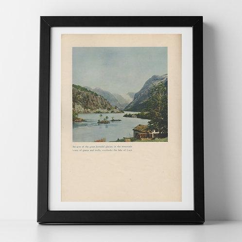 Norwegian Landscape print of Lake Loen, July 1937