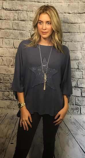 Single Star Linen-Mix Casual Tunic Top