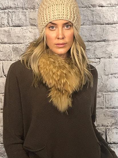 Detachable Fur Collar with Crocodile Clip fastening