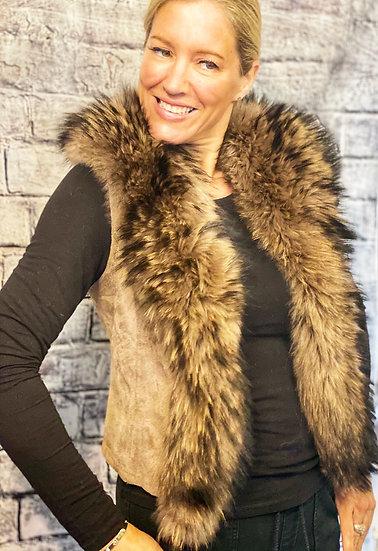 Jayley Suedette Fur Trim Gilet