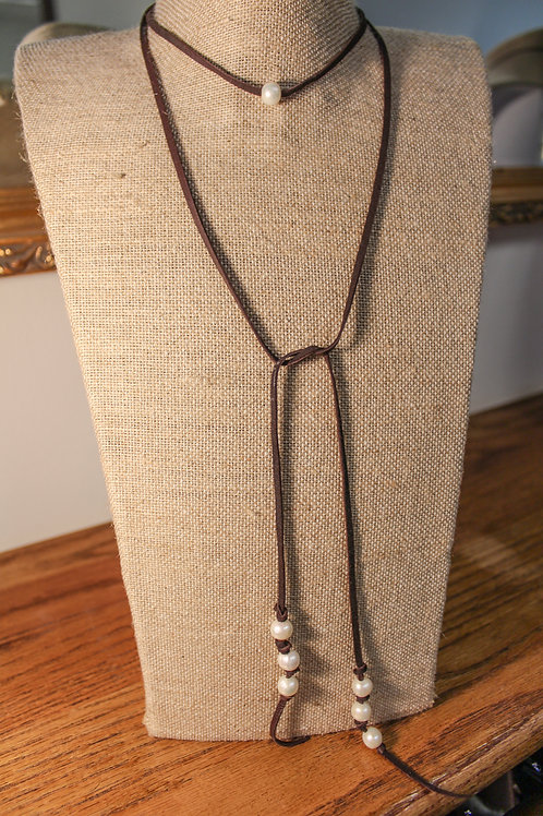 MARA DESIGN Leather and Freshwater Pearl Lariat Necklace by Mara Designs