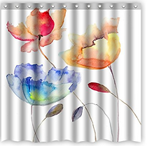 Water Color Flowers  Shower Curtai
