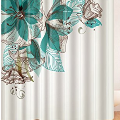 Scroll Teal flowers Shower Curtain