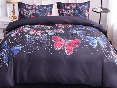 Vintage Black Butterfly Comforter Set