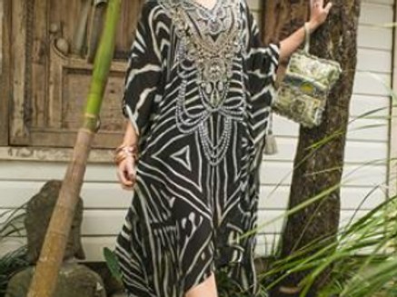 Black and White Graphic Kaftan (Mid Length)