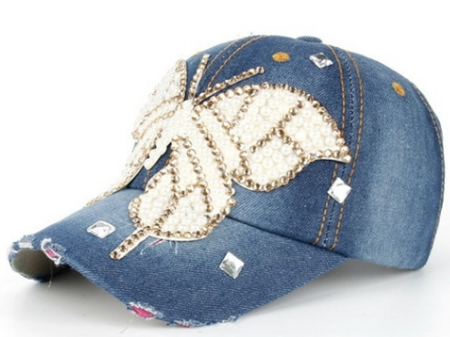 Vintage Denim Butterfly Cap