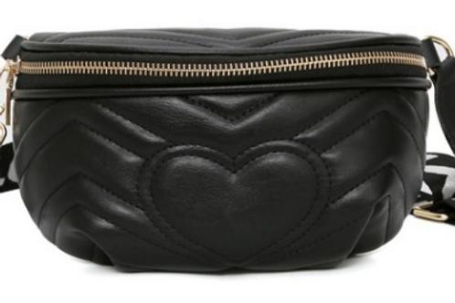 Black Leather Love Waist Bag