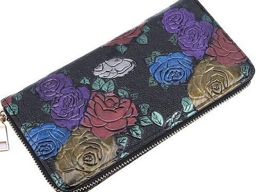 Multi Coloured Rose Leather Wallet