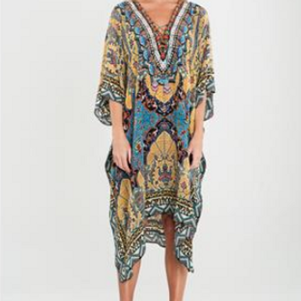 Silk V Neck Kaftan