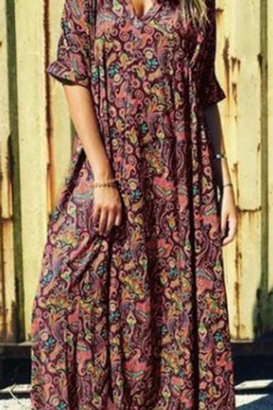 Vintage Floral Maxi Dress (Full Length)