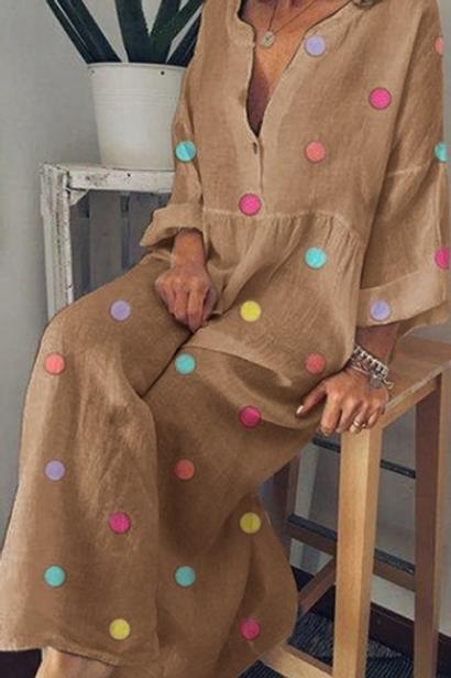 Dot Maxi Dress (3/4 length)