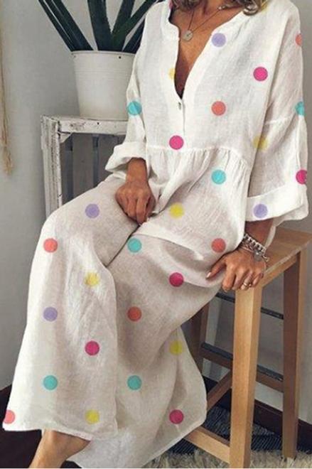 White Multi Coloured Dot Maxi Dress (Full Length)