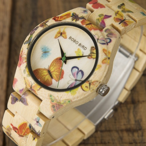 Bamboo Vintage Butterfly Watch (Quartz)
