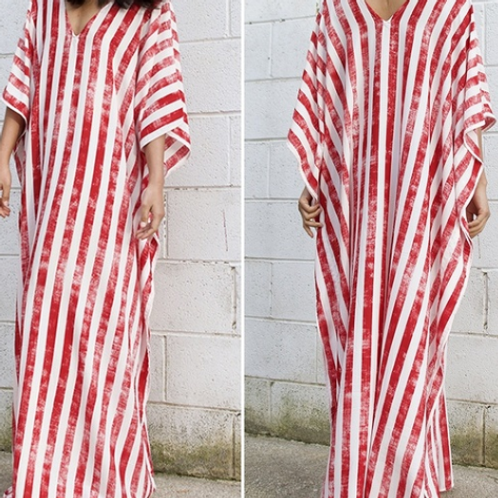 Red and White Striped Maxi Dress (Full Length)