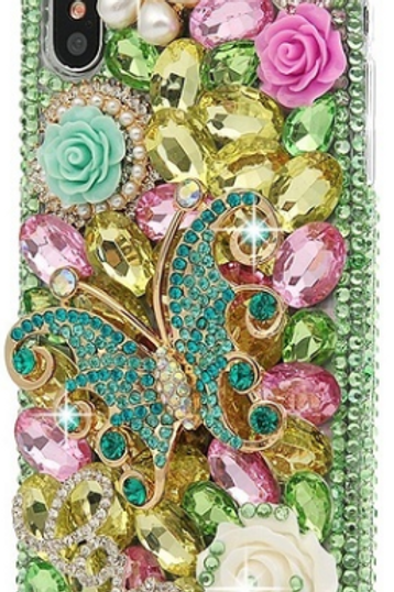 Green Bling Butterfly Phone Case