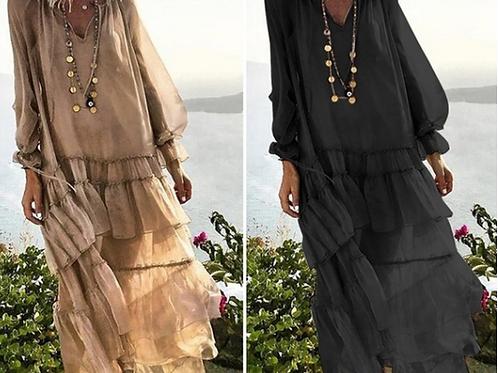 Vintage Chiffon Ruffle Dress (Full Length)