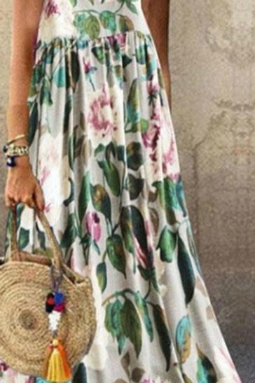 Vintage Floral Maxi Dress (3/4 Length)
