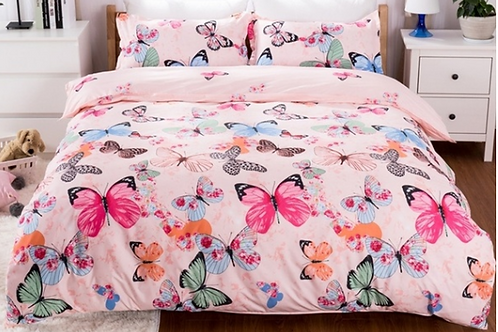 Pink Butterfly Comforter Set