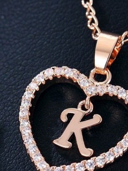 Rose Gold Heart (Letter) Necklace