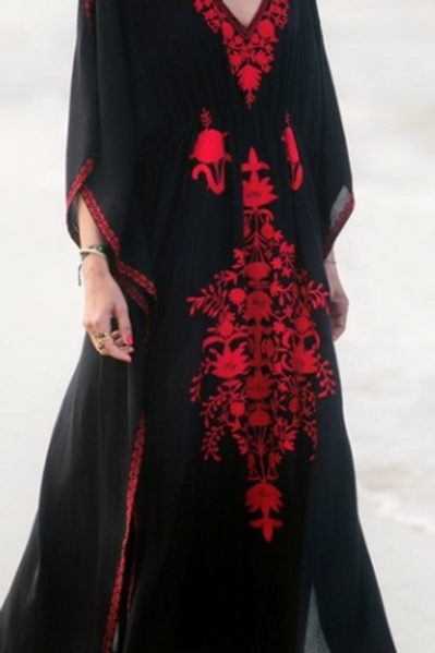 Black and Red Maxi Dress (Full Length)