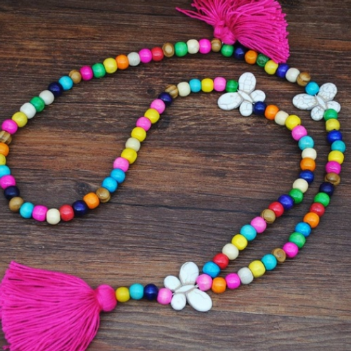 Boho Butterfly Necklace (Pink/Yellow)