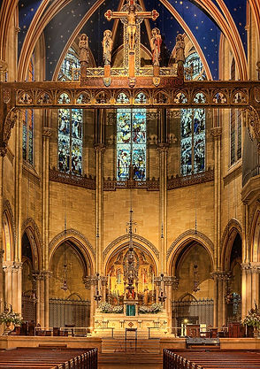 The main chancel at St. Mary the Virgin, from their website.