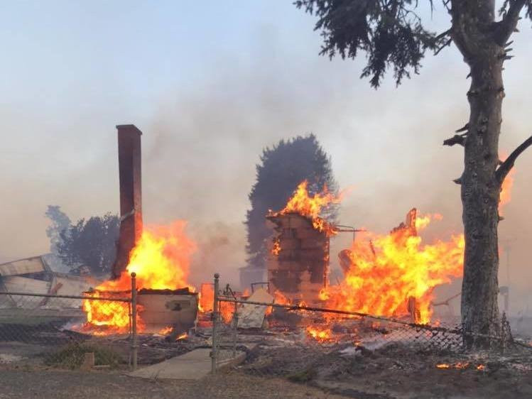 Remains of a burned building from fast moving fire in Malden, WA (courtesy Whitman County Sheriff's Office)